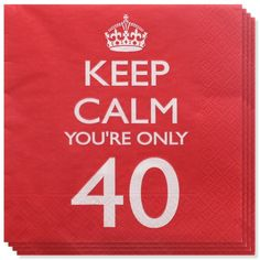 Keep Calm er et sjovt og farverigt tema til de voksnes fødselsdagfest! 18, 21 år og alle de runde fødselsdage fra 30 op til 80 år! Her ses Keep Calm Tema 40 år Servietter - Pakke med 20. Find dem hos MinTemaFest.dk #MinTemaFestdk #Festartikleronline