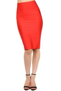 Vibrant Red Bodycon Pencil Skirt best seller  www.DressBoutique.com #bodycon #bodyconskirt #pencilskirt #womensfashion #skirts #style