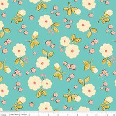 Riley Blake Designs Calliope Floral Aqua One by chitchatfabrics