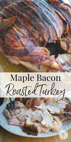 This recipe forMaple Bacon Roasted Turkeyis so easy to make, you'll spend less time in the kitchen this Thanksgiving and more time with your guests. #turkey #bacon #thanksgiving Turkey Recipes, Pork Recipes, Gourmet Recipes, Vegetarian Recipes, Healthy Recipes, Cookbook Recipes, Easy Dinner Recipes, Appetizer Recipes, Great Recipes