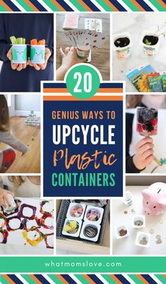 Creative Upcycle Crafts For Kids Easy Diy Ideas For Reusing Plastic Containers Like K-Cups, Yogurt And Baby Food Containers. Fun Projects For Earth Day And Beyond Reuse Plastic Containers, Plastic Container Crafts, Plastic Food Containers, Recycling Containers, Plastic Bottles, Upcycled Crafts, Diy Craft Projects, Crafts For Kids, Upcycling Projects For Kids