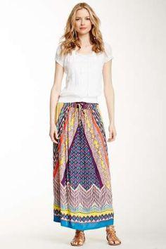 Printed Drawstring Maxi Skirt