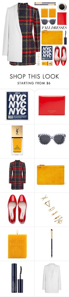 """""""fall fashion: dresses"""" by jesuisunlapin ❤ liked on Polyvore featuring Ted Baker, Yves Saint Laurent, STELLA McCARTNEY, Balmain, Clare V., Miu Miu, Forever 21, Acqua di Parma, Estée Lauder and Givenchy"""
