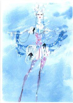 Croquis de l'un des costumes dessinés par Christian Lacroix pour le ballet La Source, avec le soutien de Swarovski qui a offert 2 millions de cristaux pour la réalisation des costumes.