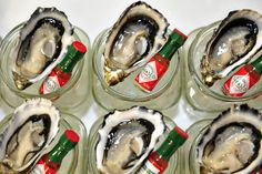 Oysters with mini tabasco, nautical canapes, catering by Bay Leaf Catering