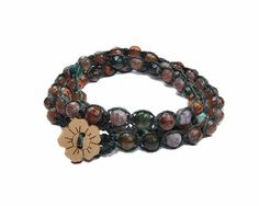 Multicolor agate stone stacking macrame wrap by GemsdeVine on Etsy, $24.99