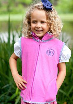 Girls smocked Hot Pink Fleece Vest. Great to layer or monogram ! $39