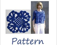 Hats women Granny square crochet sweater top by EasyNadiaPatterns
