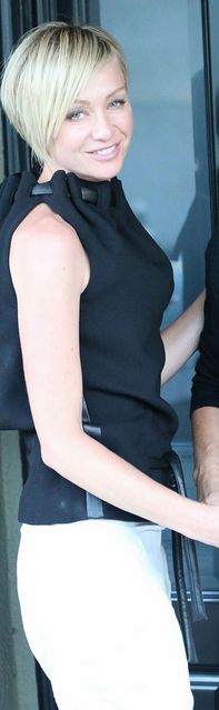 Who made Portia de Rossi's black tie top that she wore in West Hollywood?