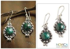 Chrysocolla flower earrings, 'Andean Rose' at The Rainforest Site
