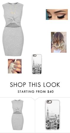 """""""Grey dress"""" by zabby04 ❤ liked on Polyvore featuring River Island, Casetify and Sydney Evan"""