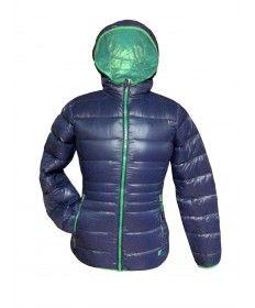 JOLUVI-ANORACK MUJER DOWN HOOD AZUL-VERDE Prenda ligera y cómoda. Tejido de plumas contra el frio y el aire. Impermeable y transpirable. Posibilidad de guardarlo en una bolsa  www.easosport.com