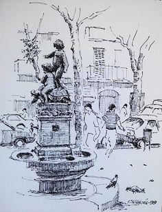 La font de la plaça. Barcelona, Joaquim Francés (tinta / ink)