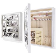 Jewellery Cabinet Box Storage Organiser With Photo Frames pressed wood White | eBay