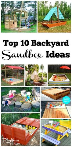 Backyard sandboxes are amazing outdoor sensory play spaces. Click through to find 10 types of sandbox ideas for kids complete with plans that have directions on how to make an outdoor sandbox. Tips, tutorials, and hacks for every type of sandbox can be found; easy, natural, portable, boats, sand tables, convertible with seats or benches, with lids, and canopy's or covers to create shade and store. Whether you prefer to DIY or buy you will find what you are looking for! #kidsplayhouseplans