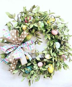 Easter Wreath ~ Let me help you brighten your front door with this beautiful Spring Easter Wreath filled with pastel speckled eggs.that will make walking into your home warm and welcoming.