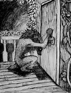 This is how I feel all the time. Like something strange trying to enter a place I want to belong. Still knocking. Magical Creatures, Fantasy Creatures, Werewolf Art, Alpha Werewolf, Werewolf Stories, Dessin Old School, Arte Dark Souls, Mononoke, Animes Wallpapers