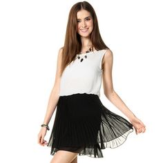 'YesStyle Z – Mushroom Pleat Sleeveless Dress'
