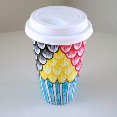 Porcelain Travel Mug Hand Painted Scallops Stripes Black Red Blue Yellow on www.goodsmiths.com