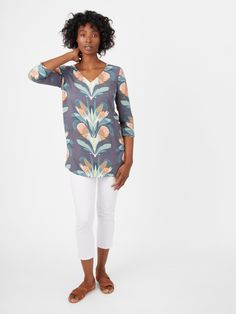 Tansy Tunic White Stuff, Green Print, Off Duty, Kaftan, White Jeans, Suitcase, How To Make, How To Wear, Artsy