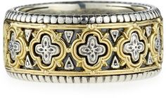 Konstantino Classic Silver & 18k Clover Band Ring in Silver for Men