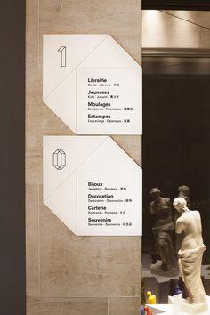 Boutique du Louvre - Valérie de Berardinis Directional Signage, Wayfinding Signs, Office Signage, Retail Signage, Environmental Graphic Design, Environmental Graphics, Signage Design, Branding Design, Hospital Signage
