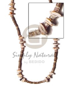 Handmade Surfer 2 3 Nat Brown Coco Heishe W. Coco Fashion, Beach Fashion, Beach Accessories, Fashion Accessories, Fashion Jewelry, Moda Natural, Collar Tribal, Wood Necklace, Shell Necklaces