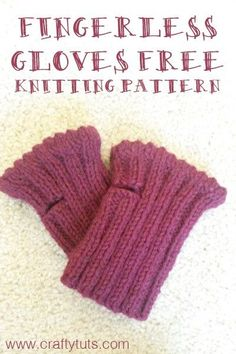 Short Fingerless Gloves - Free knitting pattern easy knitting pattern for beginners. Quick project that can be finished in one day.