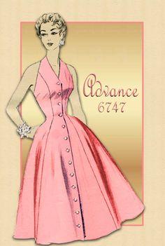 1950s Dress Pattern Advance 6747 Halter Dress with Rockabilly Full Skirt and Cropped Bolero Jacket Unused Pattern