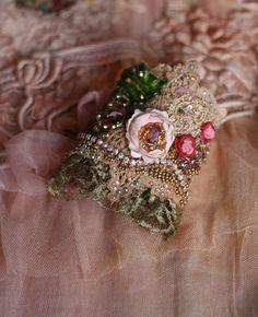 Tea rose romantic shabby chic wrist cuff antique by FleursBoheme