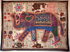 HANDMADE ELEPHANT BOHEMIAN PATCHWORK WALL HANGING EMBROIDERED TAPESTRY INDIA E71…