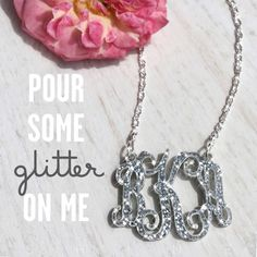 Small Acrylic Monogram Necklace on Silver or Gold Chain - 19 Colors!