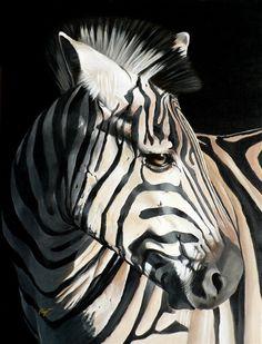 "Young Zebra  © Elize Bezuidenhout  Acrylic on canvas (2007)  610mmx915mm (36""x24"")"