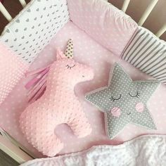 Sewing Projects For Baby - Einhorn und Stern Cute Pillows, Baby Pillows, Throw Pillows, Pillow Beds, Floor Pillows, Quilt Baby, Sewing Toys, Sewing Crafts, Sewing Clothes