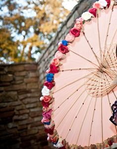 My DIY Rose Parasol :  wedding diy engagement flowers orange parasol pictures Parasol