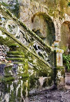 Old staircase in the garden of Quinta da Regaleira Palace in Sintra, Portugal