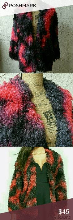 ?? June & Hudson loop yarn faux fur ?? Looks and feels like sheepskin..... 100% polyester..... fully lined... black lining... there is no closure hooks or buttons....very cozy, yet lightweight.....size is marked small, but would also fit a medium nicely..... June and Hudson Jackets & Coats