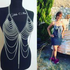 silver body chain body necklace body jewelry chain by MukoShop