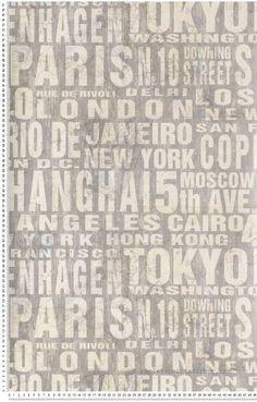 Villes du monde argent - Papier peint Thèmes of Life d'Initiales