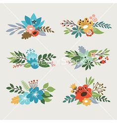 Floral design elements vector by Lenlis on VectorStock®