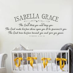 The Lord bless you and keep you Nursery Wall Decal PERSONALIZED - Baby Name Monogram - Nursery Wall Decor - Bible Verse Decal - Numbers 6:24 by OldBarnRescueCompany on Etsy https://www.etsy.com/listing/509480482/the-lord-bless-you-and-keep-you-nursery