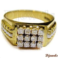 Diamond Gents Ring in Hallmarked Gold [Rs Men's Jewelry, Luxury Jewelry, Jewellery, Mens Gold Rings, Rings For Men, Diamond Rings, Diamond Jewelry, Mens Ring Designs, Gents Ring
