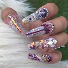 Pretty bling nail art on coffin shaped nails Bling Nail Art, Glitter Nail Art, Bling Nails, 3d Nails, Stiletto Nails, Nail Nail, Nail Polish, Fabulous Nails, Gorgeous Nails
