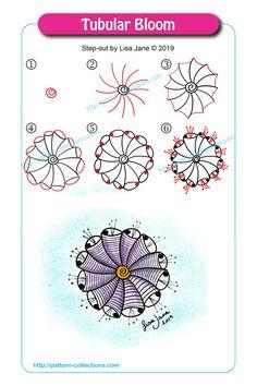 Tubular Bloom by Lisa Jane Zentangle Drawings, Mandala Drawing, Doodles Zentangles, Doodle Drawings, Easy Drawings, Doodle Art, Zen Doodle Patterns, Doodle Borders, Zentangle Patterns