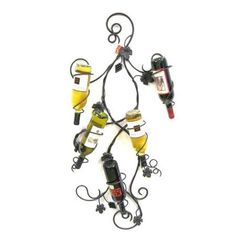 Creative Creations 5 Bottle Wall Wine Holder with Grape Leaves