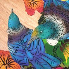 Tui Rua round print | Flox Fashion Illustration Vintage, Illustration Art, Illustrations, Art Maori, New Zealand Art, Nz Art, Festival Posters, Australian Artists, Bird Art