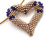 Gold Heart Necklace for Valentine's Day - Beaded Heart Pendant in Gold and Purple