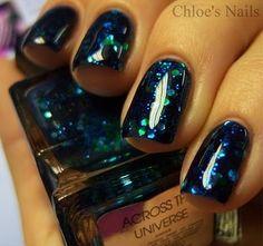 Love this Deborah Lippmann polish called Across the Universe! (via Chloe& Nails) Get Nails, Fancy Nails, How To Do Nails, Pretty Nails, Hair And Nails, Nice Nails, French Nails Glitter, Glitter Nails, Blue Glitter