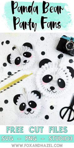 Create these fun Panda bear party fans with FREE cut files - Fox + Hazel Panda Themed Party, Panda Birthday Party, Panda Party, Bear Party, Birthday Party Themes, Diy Panda, Panda Craft, Panda Bear Crafts, Baby Shower Centerpieces