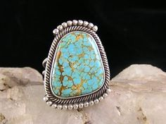 Natural Number 8 Turquoise Gem Ring Size 9